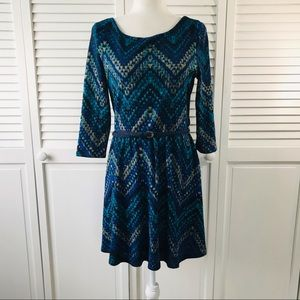 LILY ROSE Belted Blue Green Sheath Dress Size L
